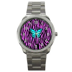 Zebra Stripes Black Pink   Butterfly Turquoise Sport Metal Watch by EDDArt