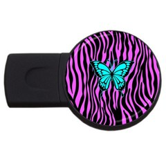 Zebra Stripes Black Pink   Butterfly Turquoise Usb Flash Drive Round (4 Gb) by EDDArt