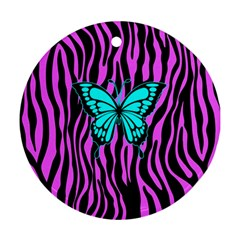 Zebra Stripes Black Pink   Butterfly Turquoise Round Ornament (two Sides) by EDDArt