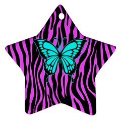 Zebra Stripes Black Pink   Butterfly Turquoise Star Ornament (two Sides) by EDDArt