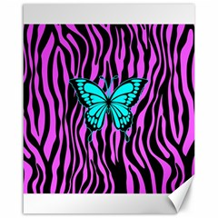 Zebra Stripes Black Pink   Butterfly Turquoise Canvas 16  X 20   by EDDArt