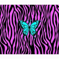 Zebra Stripes Black Pink   Butterfly Turquoise Canvas 20  X 24   by EDDArt