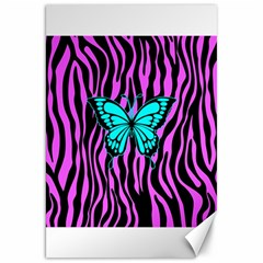 Zebra Stripes Black Pink   Butterfly Turquoise Canvas 20  X 30   by EDDArt