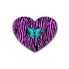 Zebra Stripes Black Pink   Butterfly Turquoise Heart Coaster (4 Pack)  by EDDArt