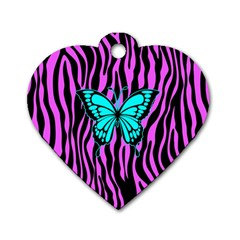Zebra Stripes Black Pink   Butterfly Turquoise Dog Tag Heart (two Sides) by EDDArt