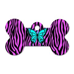 Zebra Stripes Black Pink   Butterfly Turquoise Dog Tag Bone (two Sides) by EDDArt