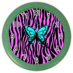 Zebra Stripes Black Pink   Butterfly Turquoise Color Wall Clocks by EDDArt