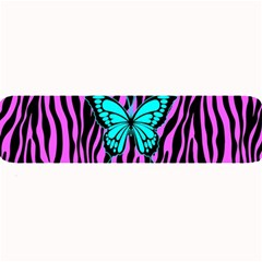 Zebra Stripes Black Pink   Butterfly Turquoise Large Bar Mats by EDDArt