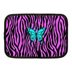 Zebra Stripes Black Pink   Butterfly Turquoise Netbook Case (medium)  by EDDArt