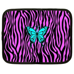 Zebra Stripes Black Pink   Butterfly Turquoise Netbook Case (large) by EDDArt