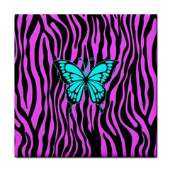 Zebra Stripes Black Pink   Butterfly Turquoise Face Towel by EDDArt