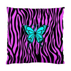 Zebra Stripes Black Pink   Butterfly Turquoise Standard Cushion Case (two Sides) by EDDArt