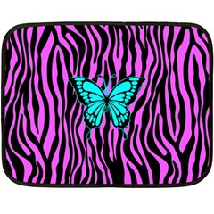 Zebra Stripes Black Pink   Butterfly Turquoise Fleece Blanket (mini) by EDDArt