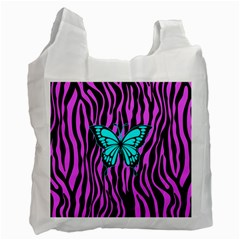Zebra Stripes Black Pink   Butterfly Turquoise Recycle Bag (two Side)  by EDDArt