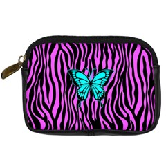 Zebra Stripes Black Pink   Butterfly Turquoise Digital Camera Cases by EDDArt