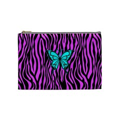 Zebra Stripes Black Pink   Butterfly Turquoise Cosmetic Bag (medium)  by EDDArt