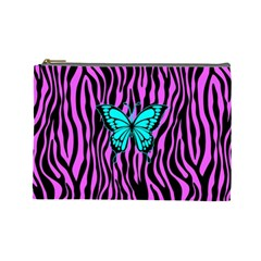 Zebra Stripes Black Pink   Butterfly Turquoise Cosmetic Bag (large)  by EDDArt
