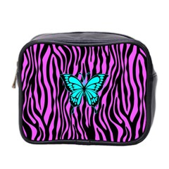 Zebra Stripes Black Pink   Butterfly Turquoise Mini Toiletries Bag 2 Side by EDDArt