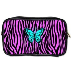 Zebra Stripes Black Pink   Butterfly Turquoise Toiletries Bags by EDDArt