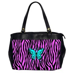 Zebra Stripes Black Pink   Butterfly Turquoise Office Handbags (2 Sides)  by EDDArt