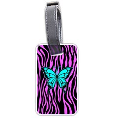 Zebra Stripes Black Pink   Butterfly Turquoise Luggage Tags (one Side)  by EDDArt