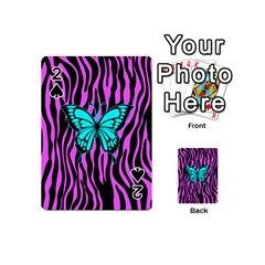 Zebra Stripes Black Pink   Butterfly Turquoise Playing Cards 54 (mini)  by EDDArt