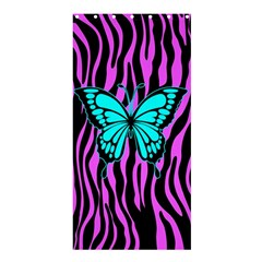 Zebra Stripes Black Pink   Butterfly Turquoise Shower Curtain 36  X 72  (stall)  by EDDArt