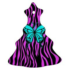 Zebra Stripes Black Pink   Butterfly Turquoise Ornament (christmas Tree)  by EDDArt