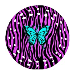 Zebra Stripes Black Pink   Butterfly Turquoise Round Filigree Ornament (two Sides) by EDDArt