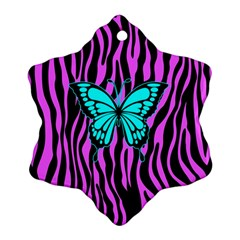 Zebra Stripes Black Pink   Butterfly Turquoise Snowflake Ornament (two Sides) by EDDArt
