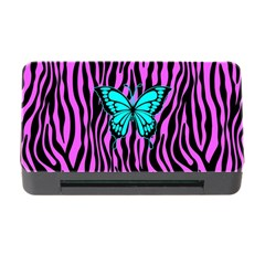 Zebra Stripes Black Pink   Butterfly Turquoise Memory Card Reader With Cf by EDDArt