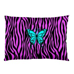 Zebra Stripes Black Pink   Butterfly Turquoise Pillow Case (two Sides) by EDDArt