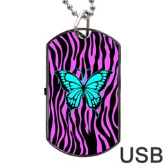 Zebra Stripes Black Pink   Butterfly Turquoise Dog Tag Usb Flash (one Side) by EDDArt