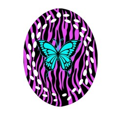 Zebra Stripes Black Pink   Butterfly Turquoise Oval Filigree Ornament (two Sides) by EDDArt