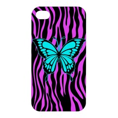 Zebra Stripes Black Pink   Butterfly Turquoise Apple Iphone 4/4s Hardshell Case by EDDArt
