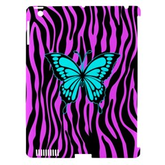 Zebra Stripes Black Pink   Butterfly Turquoise Apple Ipad 3/4 Hardshell Case (compatible With Smart Cover) by EDDArt