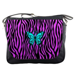 Zebra Stripes Black Pink   Butterfly Turquoise Messenger Bags by EDDArt