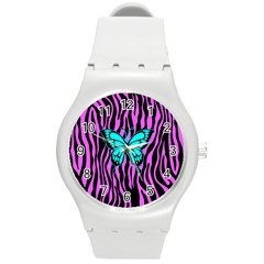 Zebra Stripes Black Pink   Butterfly Turquoise Round Plastic Sport Watch (m) by EDDArt