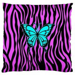 Zebra Stripes Black Pink   Butterfly Turquoise Large Cushion Case (one Side) by EDDArt