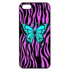 Zebra Stripes Black Pink   Butterfly Turquoise Apple Iphone 5 Seamless Case (black) by EDDArt
