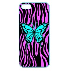 Zebra Stripes Black Pink   Butterfly Turquoise Apple Seamless Iphone 5 Case (color) by EDDArt