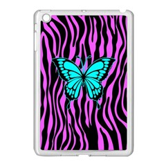 Zebra Stripes Black Pink   Butterfly Turquoise Apple Ipad Mini Case (white) by EDDArt