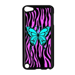 Zebra Stripes Black Pink   Butterfly Turquoise Apple Ipod Touch 5 Case (black) by EDDArt