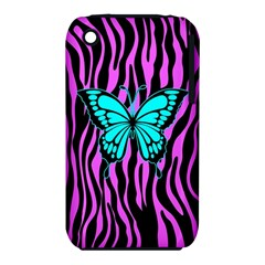 Zebra Stripes Black Pink   Butterfly Turquoise Iphone 3s/3gs by EDDArt