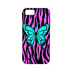 Zebra Stripes Black Pink   Butterfly Turquoise Apple Iphone 5 Classic Hardshell Case (pc+silicone) by EDDArt