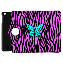 Zebra Stripes Black Pink   Butterfly Turquoise Apple Ipad Mini Flip 360 Case by EDDArt
