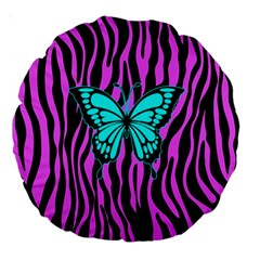 Zebra Stripes Black Pink   Butterfly Turquoise Large 18  Premium Round Cushions by EDDArt