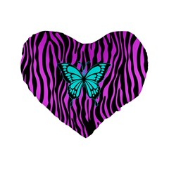 Zebra Stripes Black Pink   Butterfly Turquoise Standard 16  Premium Heart Shape Cushions by EDDArt