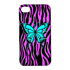 Zebra Stripes Black Pink   Butterfly Turquoise Apple Iphone 4/4s Hardshell Case With Stand by EDDArt