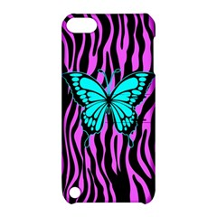 Zebra Stripes Black Pink   Butterfly Turquoise Apple Ipod Touch 5 Hardshell Case With Stand by EDDArt